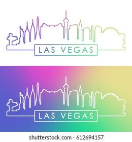 Las Vegas skyline. Colorful linear style. Editable vector file.