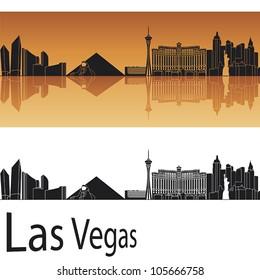 Las Vegas skyline in orange background