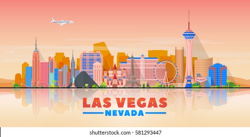 Las Vegas skyline with panorama in evening sky background. Vector Illustration. Business travel and tourism concept with modern buildings. Image for banner or web site.
