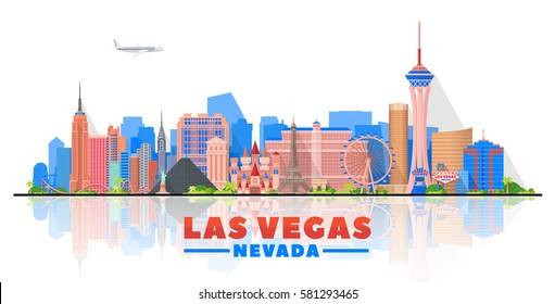 Las Vegas skyline with panorama in white background. Vector Illustration. Business travel and tourism concept with modern buildings. Image for banner or web site.