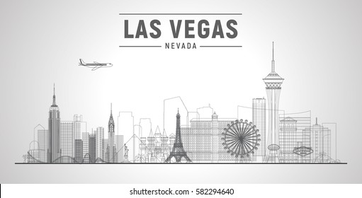 Las Vegas skyline with panorama in white background. Vector line Illustration. Business travel and tourism concept with modern buildings. Image for banner or web site.