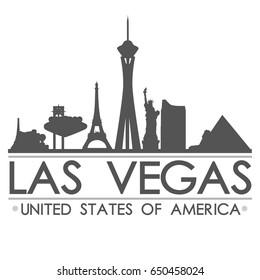 Las Vegas Skyline Silhouette Design City Vector Art
