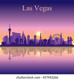 Las Vegas skyline silhouette on sunset background, vector illustration