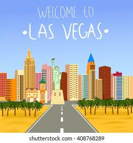Las Vegas skyline Vector  Illustration. Las Vegas Welcome  poster