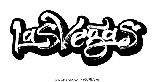 Las Vegas. Sticker. Modern Calligraphy Hand Lettering for Serigraphy Print