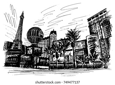 Las Vegas Strip, Las Vegas main street, hand-drawn, buildings on the street, Eiffel Tower, balloon in the scenery painted and traced.