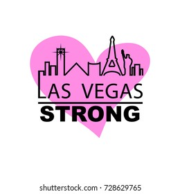 Las vegas strong city outline with pink heart in the backbround