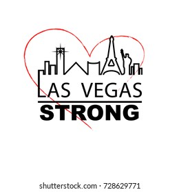 Las vegas strong city outline with red outline heart in the backbround