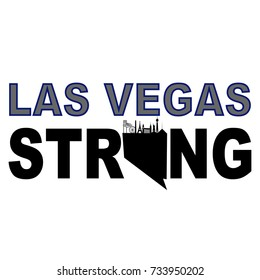Las Vegas strong with Nevada stage border line and Las Vegas city Silhouette pn the state map