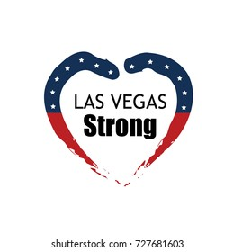 Las Vegas strong vector graphic illustration of heart symbol with USA flag elements