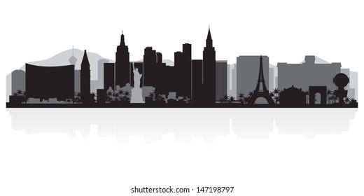 Las Vegas USA city skyline silhouette vector illustration