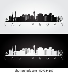 Las Vegas USA skyline and landmarks silhouette, black and white design, vector illustration