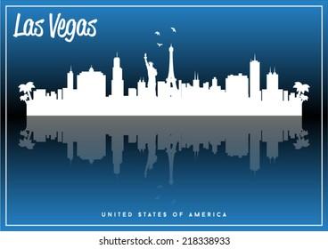 Las Vegas, USA skyline silhouette vector design on parliament blue background.