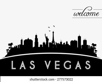 Las Vegas USA skyline silhouette, black and white design, vector illustration