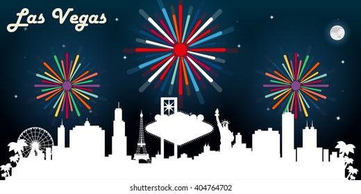 Las Vegas USA skyline silhouette vector design, dark night sky with fireworks