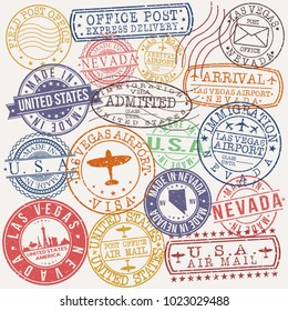 Las Vegas USA Stamp Vector Art Postal Passport Travel Design Set