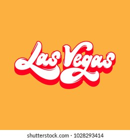 Las Vegas. Vector handwritten lettering isolated. Template for card, poster, banner, print for t-shirt.