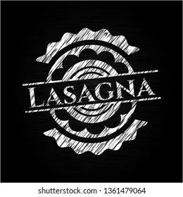 Lasagna chalkboard emblem on black board