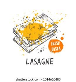 Lasagne pasta. Italian cuisine. Logo, icon and label for your design. Hand drawn doodle vector illustration. Can be used for menu, cafe, restaurant, bar, poster, shop, food studio, emblem, sticker.