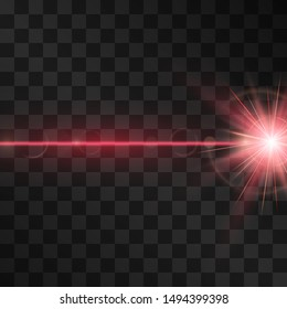 Laser beam light effect, burning explosion isolated on transparent background. Vector neon red alert energy, glowing ray with lens flare.  Hi tech modern shining design element for text ads, posters.