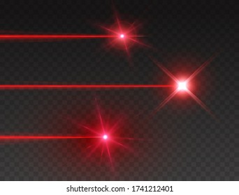 Laser beam set isolated on transparent background. Abstract red shine laser light rays with glow lazer flash. Vector neon explosion effects.