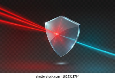 Laser beam with shield isolated on transparent background. Abstract red shine light ray, glow lazer flash effect and blue acrylic glass panel. Vector technology power protect icon