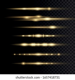 Laser beams, horizontal light rays. Yellow glowing light explodes on a transparent background. Sun rays. Beautiful light flares. Vector illustration, EPS 10.