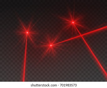 Laser beams isolated on transparent background. Abstract red lazer light rays with glow targets. Vector laser security or neon line effect for your design.
