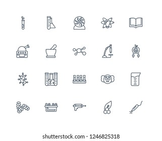 Laser, Biology, Blaster, Nixie, Microorganisms, Open Book, Microscope, Tubes, Microorganism, Mortar, Plasma ball outline vector icons from 20 set