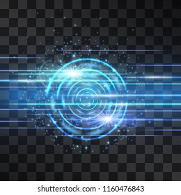 Laser blue glow vector stream with portal vortxex. Light energy data flow for modern hi tech theme. Power neon flicking beam of high speed particles isolated on transparent background. Digital space.
