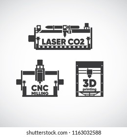 laser co2, laser cutting, cnc milling, cnc machine, 3d printing, 3d machine icon