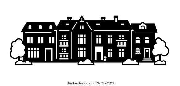 Laser cut of Amsterdam style houses. Silhouette of typical dutch canal view at Netherlands. Stylized facade of old building. Wood carving vector template. Background for banner, christmas vintage card