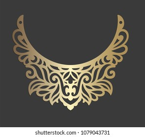 Laser cut bib necklace design.  Ornamental vector design. Gothic leather collar.