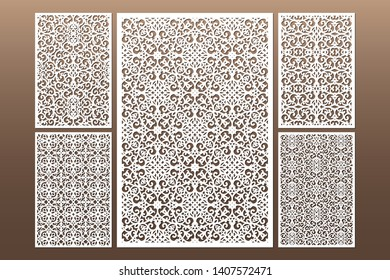 Laser cut cabinet fretwork perforated panel in arabic style. Ornamental panels template set for cutting exterior, rate 2:3. Metal, paper or wood carving. Outdoor screen.