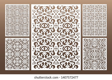 Laser cut cabinet fretwork perforated panel in arabic style. Ornamental panels template set for cutting exterior, rate 3:4. Metal, paper or wood carving. Outdoor screen.