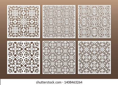 Laser cut cabinet fretwork perforated panel in arabic style. Ornamental square panels template set for cutting exterior. Silhouette geometric pattern. Metal, paper or wood carving. Outdoor screen.
