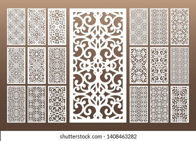 Laser cut cabinet fretwork perforated panel in arabic style. Ornamental panels template set for cutting exterior, rate 1;2. Metal, paper or wood carving. Outdoor screen.