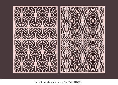 Laser cut cabinet fretwork perforated panel templates with pattern in japanese kumiko style. Geometric hexagon ornamental panels, rate 2:3. Metal, paper or wood carving. Outdoor screen.