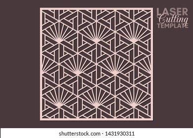 Laser cut cabinet fretwork perforated panel template with pattern in japanese kumiko style. Geometric hexagon ornamental panel, rate 1:1. Metal, paper or wood carving. Outdoor screen.