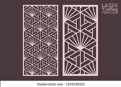 Laser cut cabinet fretwork perforated panel templates with pattern in japanese kumiko style. Geometric hexagon ornamental panels, rate 1:2. Metal, paper or wood carving. Outdoor screen.