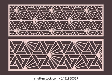 Laser cut cabinet fretwork perforated panel templates with pattern in japanese kumiko style. Geometric hexagon ornamental panels, rate 1:3. Metal, paper or wood carving. Outdoor screen.