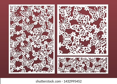 Laser cut cabinet fretwork perforated panel with pattern of butterflies and flowers. Set of templates for cutting exterior. Metal, paper or wood carving. Outdoor screen.