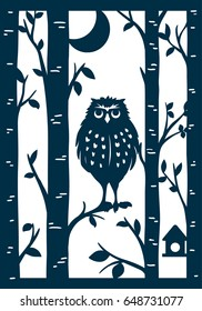 Laser cut card design. Owl in the birch grove. Cute owl sitting on a branch with the moon in the background.
