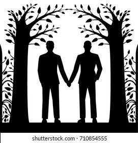 Laser cut card with two men holding hands, in ornament of trees and leaves