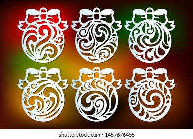 Laser cut Christmas ball templates set with openwork pattern. Cutout decor with swirls in retro style. Xmas cutting decoration, vector.