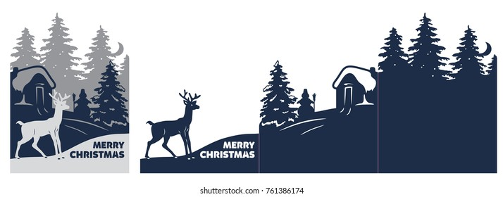 Laser cut Christmas card. Cutout paper merry Christmas postcard with deer, winter landscape and village at moonlit night. Template of the card in three additions. Suitable for laser cutting.