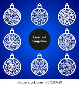 Laser cut christmas decoration vector design. Merry Christmas decoration for xmas tree. X-mas symbol for paper cutting, wood carving and christmas decorations. Christmas tree balls.