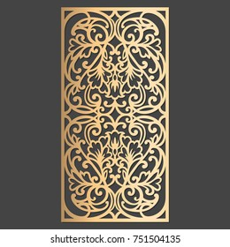 Laser cut decorative element. Wall or window panel cutting template. Die cut embellishment.