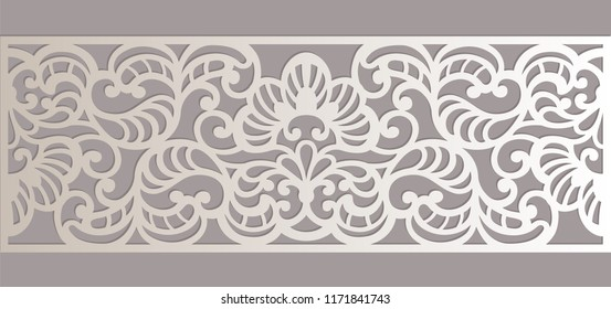 Laser cut decorative lace border, openwork vector silhouettepattern. Ornamental border element for laser cutting, metal fretwork panel. Paper cut bookmark pattern.