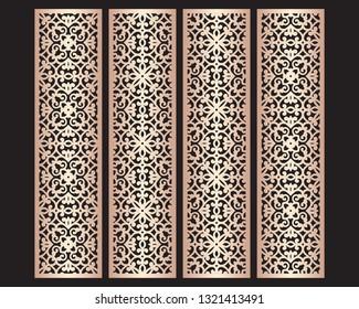 Laser cut decorative lace borders patterns. Set of bookmarks templates. Cabinet fretwork panel. Lasercut metal screen. Wood carving. Vector.